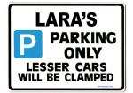 LARA'S Personalised Parking Sign Gift | Unique Car Present for Her |  Size Large - Metal faced